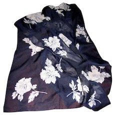 "Italian Poly Chiffon 60"" Long Blue Floral Scarf for Morgan Taylor"