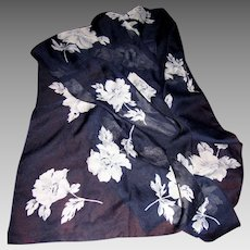 "Italian Poly Chiffon 60"" Long Blue Floral Scarf for Morgan Taylor"