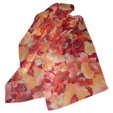 "Vibrant Poppy Design 58"" Poly Chiffon Scarf"