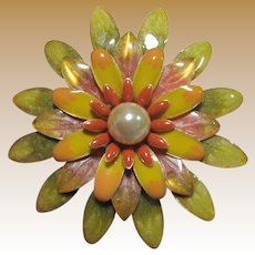 A Lovely Vintage Enameled Metal Flower Pin