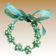 Art Glass & Ribbon Hand Made Bow Bracelet