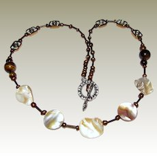 """20"""" Art Glass, Tigers Eye, Mother of Pearl & Faux Pearl Necklace"""