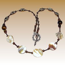 "20"" Art Glass, Tigers Eye, Mother of Pearl & Faux Pearl Necklace"