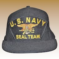 US Navy SEAL Team Ball Cap, Trident, Eagle Crest, Adjustable, Made in USA