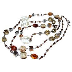 """Premier Designs Foiled Art Glass, Lucite & Faceted Smokey Crystal 40"""" Necklace"""