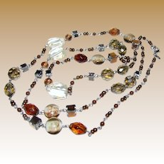 "Premier Designs Foiled Art Glass, Lucite & Faceted Smokey Crystal 40"" Necklace"