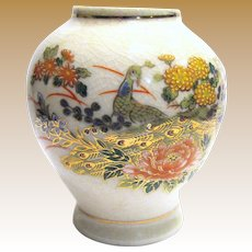 "Hand Painted & Signed Japanese Kutani 4 1/4"" Vase"