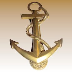 Nautical Ships Anchor Brass Door Knocker, 6 1/2""