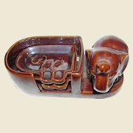 Vintage Brown Pottery Ashtrays (Set of 2) with Elephant Holder, Made in Occupied Japan, Mint