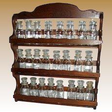 Large Vintage Hardwood Spice Rack w/ 26 Glass Bottles