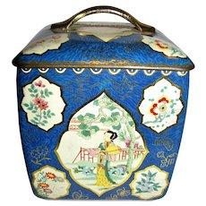 Vintage Geisha English Toleware Tea Storage Tin