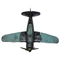 Vintage Hubley Kiddie Toy Airplane, Folding Wings & Landing Gear, Diecast Metal, Navy Fighter, Made in USA
