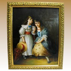 For H, Charming Small Vintage Oil Painting of Two Girls in Gilt Frame