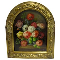 Vintage Small Floral Still Life Oil Painting in Ornate Gilt Frame