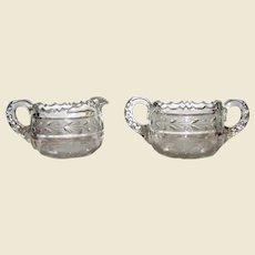 American Brilliant Period Creamer and Sugar Bowls, Hand Cut Crystal Glass