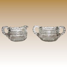 American Brilliant Period Creamer and Sugar Bowls, Hand Cut Crystal Glass