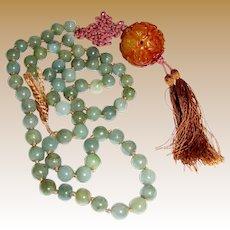 "26"" Burma Jadite Jade Necklace w/ Huge Hardstone Shou Bead Tassel"
