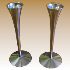 Pair Arthur Salm Solinger Germany Stainless Modernist Candleholders