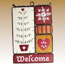 Welcome Sign, Wrought Iron Frame w/ Hand Painted Wood Tiles
