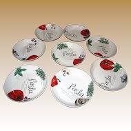 "Eight 8"" Pasta Bowls w/ Ingredient Designs by Citrus Grove"
