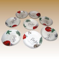 "Eight 8"" Pasta Bowls w/ Ingredient Designs by Citrus Grove"