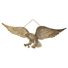 "Huge 27"" Cast Brass Eagle Wall Hanger"