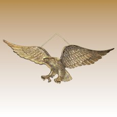 "Huge 27"" Cast Brass Eagle Wall Hanger"