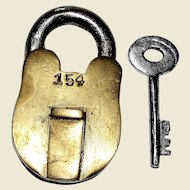 Vintage Solid Brass Small Lock with Key, Miniature Padlock