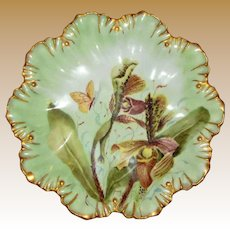 A. Lanternier Limoges Cabinet Plate, Orchid with Butterfly, Heavy Gilding