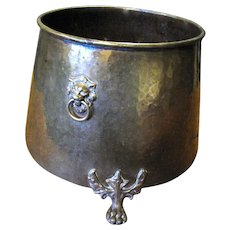 "15"" English Victorian Brass Planter w/ Lion Head Handles, Paw Feet"