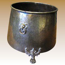 "15"" English Victorian Brass Planter w/ Lion Head Handles, Paw Feet"