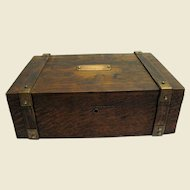 Sturdy Victorian Oak Letter Box w/ Brass Straps & Pleated Silk Lining