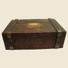 Sturdy Victorian Oak Letter Box w/ Brass Straps & Pleated Silk Lining