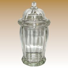 Early 20th C Large Heavy Glass Apothecary Candy Jar w/ Domed Lid