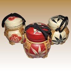 Three Vintage Painted Wooden Ginger Jars