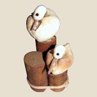 Fun Pair of Shell Art Seagulls on Wooden Stumps