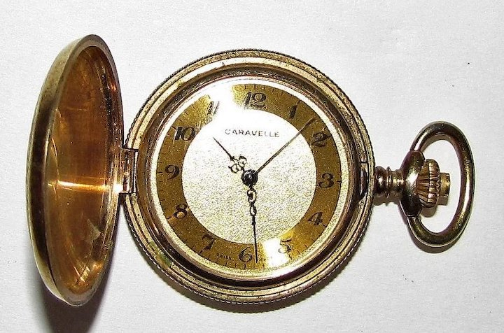 Vine Gold Tone Caravelle Pocket Watch Swiss Made Windup Fay