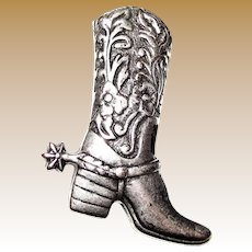 Silvertone Cowboy Boot Pin, Great Country Western Style!