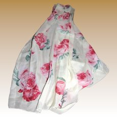 "Romantic Rose Design 60"" Long Scarf Made in Italy for Avon"