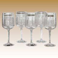5 Hand Cut Lead Crystal Bohemia Wine Glasses