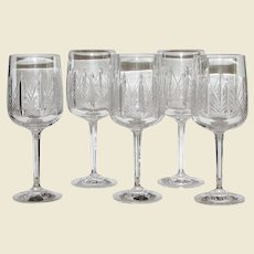 5 Hand Cut Lead Crystal Bohemia Wine Glasses