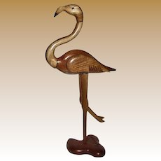 Vintage Hand Carved Wooden Flamingo