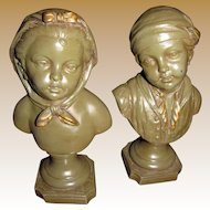 """A Pair of Royal Krafts 10"""" Chalkware Busts of 18th Children"""