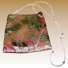 Vintage Lisa Violetto Silk Purse With Beaded Strap