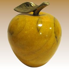 Vintage Alabaster Yellow Apple Paperweight w/ Brass Stem Leaf