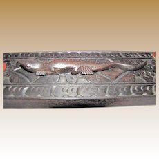 Vintage Hard Wood Plaque with Lizard Figurine, Hand Carved, Home Décor