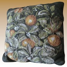 "Wool Needlepoint Fruit Botanical 15"" Sq Pillow"