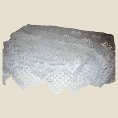 "20 Foot Length of Old 10"" Deep Hand Crochet Cotton Lace, Heart Design!"