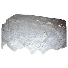 """20 Foot Length of Old 10"""" Deep Hand Crochet Cotton Lace, Heart Design!"""