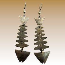 Iconic Mexican Alpaca Fish Skeleton Dangle Earrings